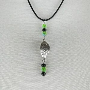 Jewelry - Leaf necklace with green and black glass beads